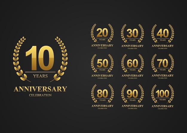 Verjaardag logo ingesteld voor viering evenement bruiloft wenskaart en banner vectorillustratie