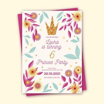 Verjaardag meisje uitnodiging sjabloon