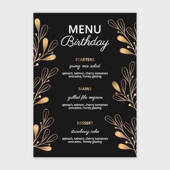 Verjaardag menu hand getekend ontwerp