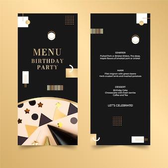Verjaardag menu ontwerpsjabloon