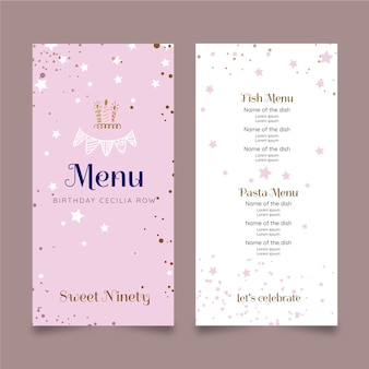 Verjaardag menu sjabloonontwerp