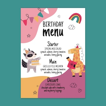 Verjaardag menusjabloon met dieren Gratis Vector