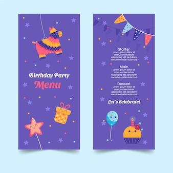 Verjaardag menusjabloon voor kinderen