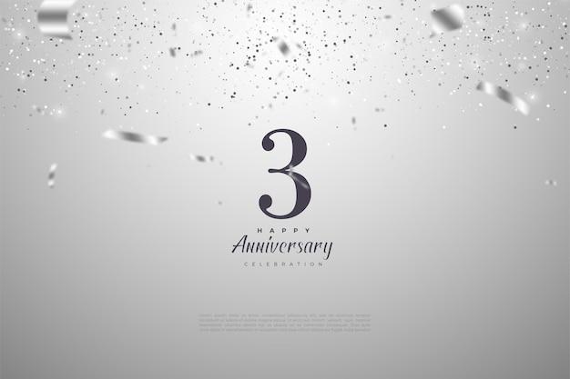 Verjaardag met cijfers. en een bezaaid zilveren lint.