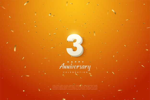 Verjaardag met dikke witte nummerillustratie op goud gespikkelde oranje achtergrond.