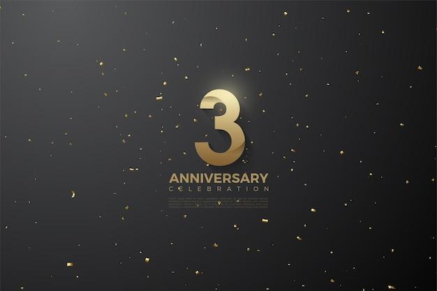 Verjaardag met getallen patroon op zwarte en gestippelde achtergrond.