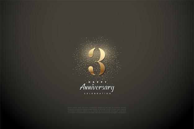 Verjaardag met gouden cijfers en glitter op de achtergrond van een vignet