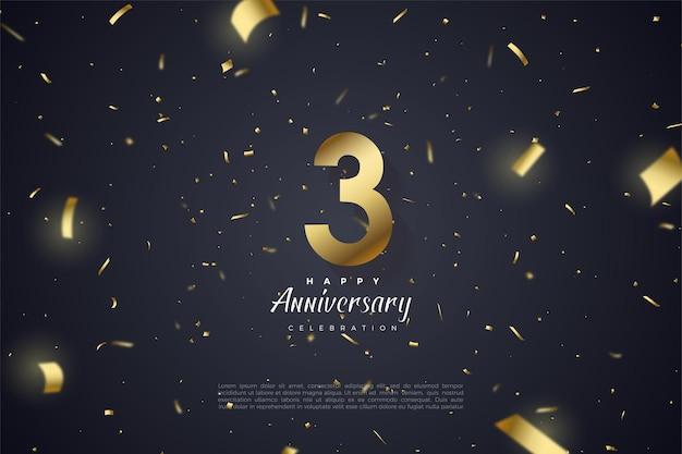 Verjaardag met goudfolie en getallen illustratie verspreid over de achtergrond