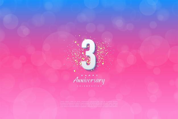Verjaardag met illustratieachtergrond ingedeeld van blauw naar roze.