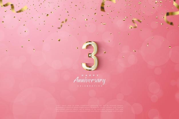 Verjaardag met luxe goudgerande nummers illustratie.