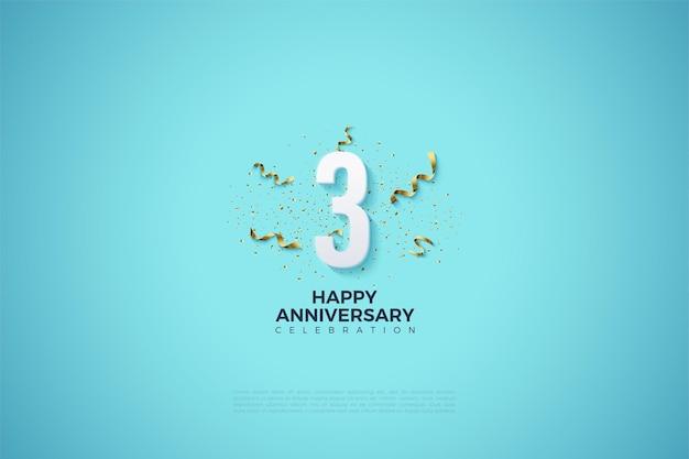 Verjaardag met numerieke illustratie versierd met linten eromheen.