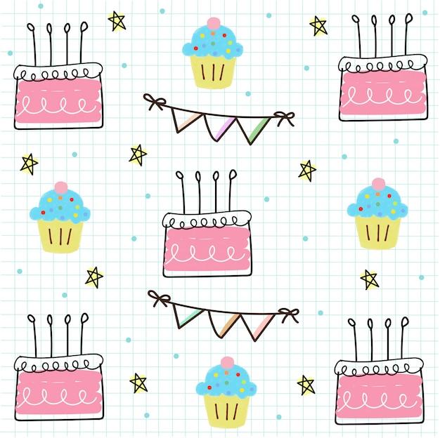 Verjaardag naadloos op raster papier