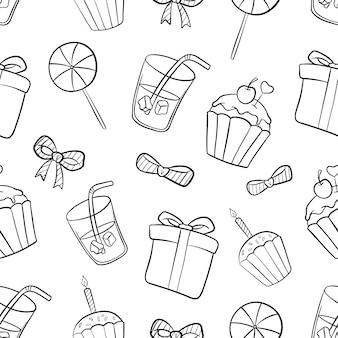 Verjaardag naadloos patroon met hand getrokken of doodle stijl op wit