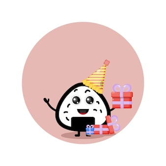 Verjaardag onigiri schattig karakter mascotte