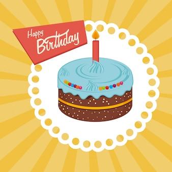 Verjaardag ontwerp op gele achtergrond