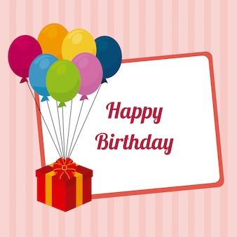 Verjaardag ontwerp over roze achtergrond
