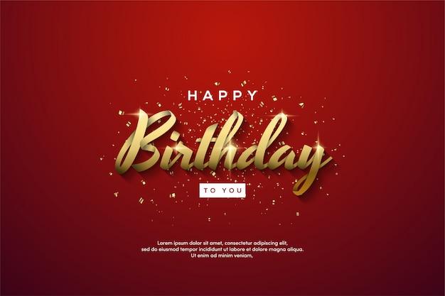 Verjaardag partij achtergrond met gouden tekst op een rode achtergrond.
