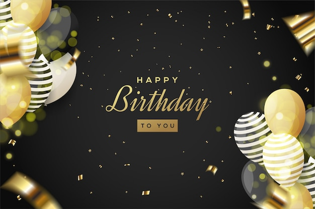 Verjaardag partij achtergrond met illustratie van 3d-ballonnen en gescheurde stukjes goud papier.