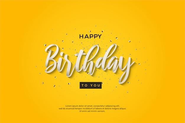 Verjaardag partij achtergrond met tekst op een gele achtergrond.