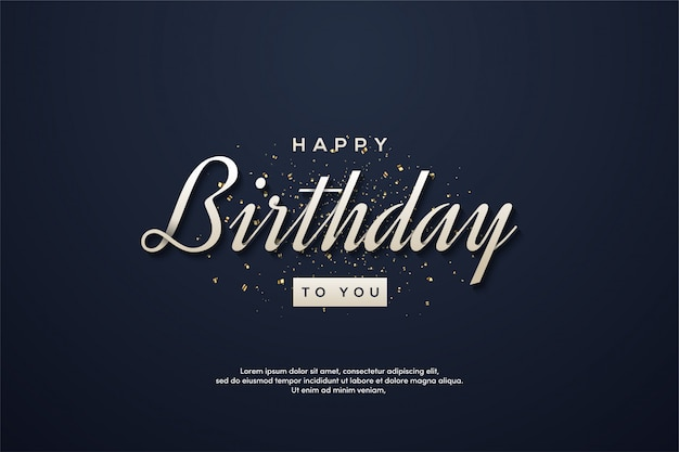 Verjaardag partij achtergrond met witte tekst op een donkerblauwe achtergrond.