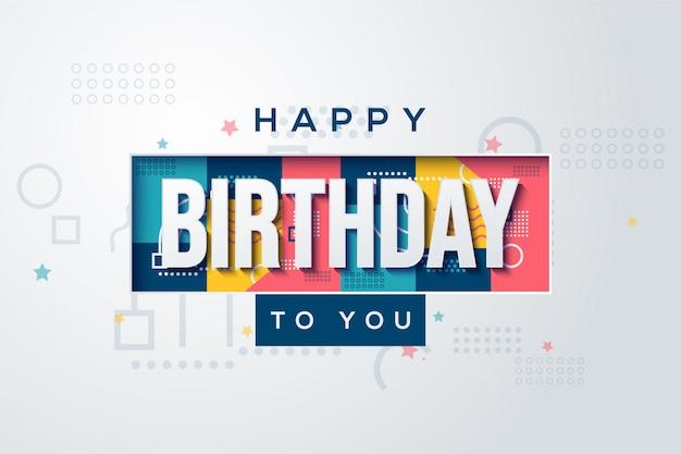 Verjaardag partij achtergrond met witte tekst op een kleurrijke achtergrond.