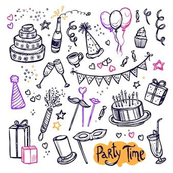 Verjaardag partij doodle pictogrammen collectie arrangement