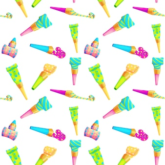 Verjaardag partij fluitje naadloze patroon. geïsoleerde clownblazer.