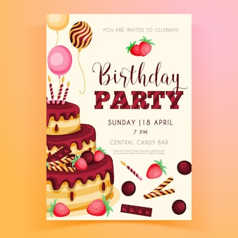 Verjaardag partij uitnodiging sjabloon