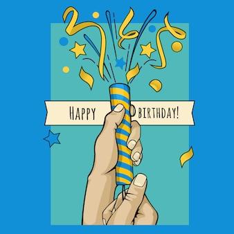 Verjaardag poster handen poppers met confetti