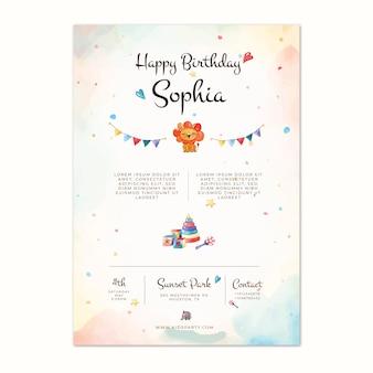 Verjaardag poster sjabloon voor kinderen