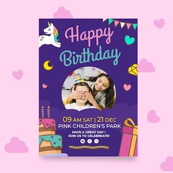 Verjaardag poster sjabloon