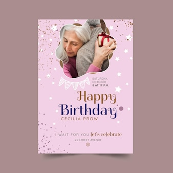 Verjaardag poster sjabloonontwerp