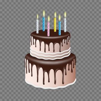 Verjaardag realistische gelaagde cake met chocoladeglans met kaars, 3d stijl