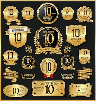 Verjaardag retro vintage gouden badges en etiketten vector