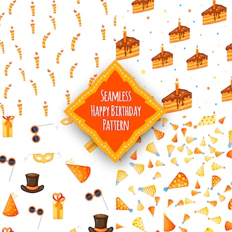 Verjaardag set met naadloze veelkleurige patroon set