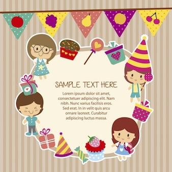 Verjaardag sjabloon met grappige kinderen