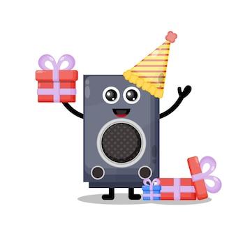 Verjaardag spreker schattig karakter mascotte