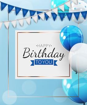 Verjaardag uitnodiging achtergrond met ballonnen. illustratie