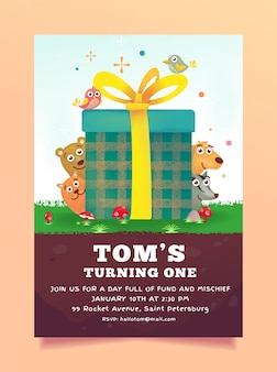 Verjaardag uitnodiging dieren thema geschenkdoos gratis