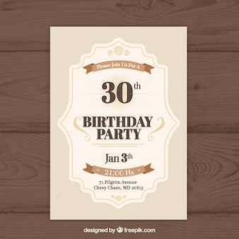 Verjaardag uitnodiging in vintage stijl