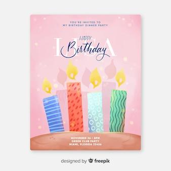 Verjaardag uitnodiging sjabloon in aquarel stijl