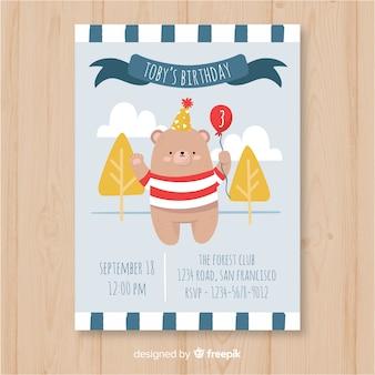 Verjaardag uitnodiging sjabloon in hand getrokken stijl