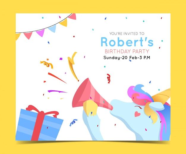 Verjaardag uitnodiging sjabloon in vlakke stijl met schattig eenhoorn karakter