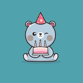 Verjaardag uitnodiging sjabloon in vlakke stijl met schattige illustratie