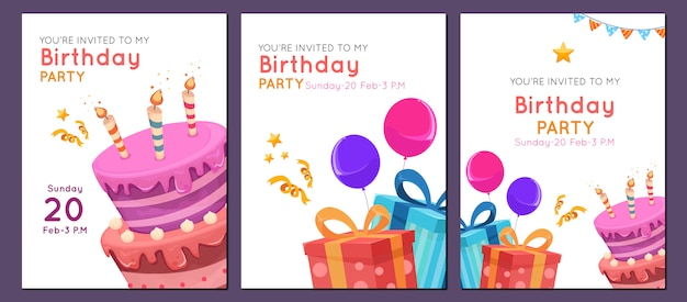 Verjaardag uitnodiging sjabloon in vlakke stijl voor kind