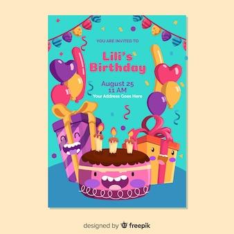 Verjaardag uitnodiging sjabloon in vlakke stijl