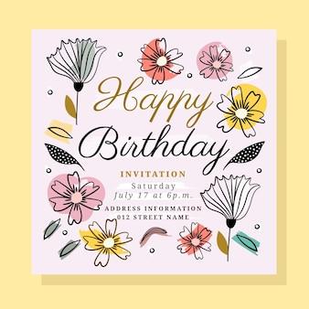 Verjaardag uitnodiging sjabloon met bloemen