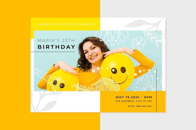 Verjaardag uitnodiging sjabloon met foto