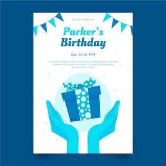 Verjaardag uitnodiging sjabloonontwerp Premium Vector