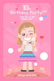 Verjaardag uitnodigingskaart voor meisjes